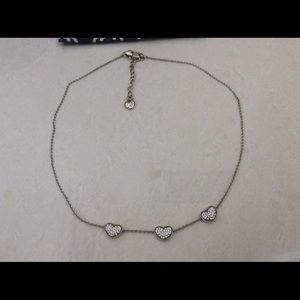BRIGHTON THREE HEART SILVER NECKLACE. NEVER WORN.